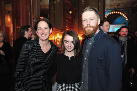Briony Hanson, Director of Film, British Council with Maisie Williams (The Falling) and Tristan Goligher (producer, 45 Years)
